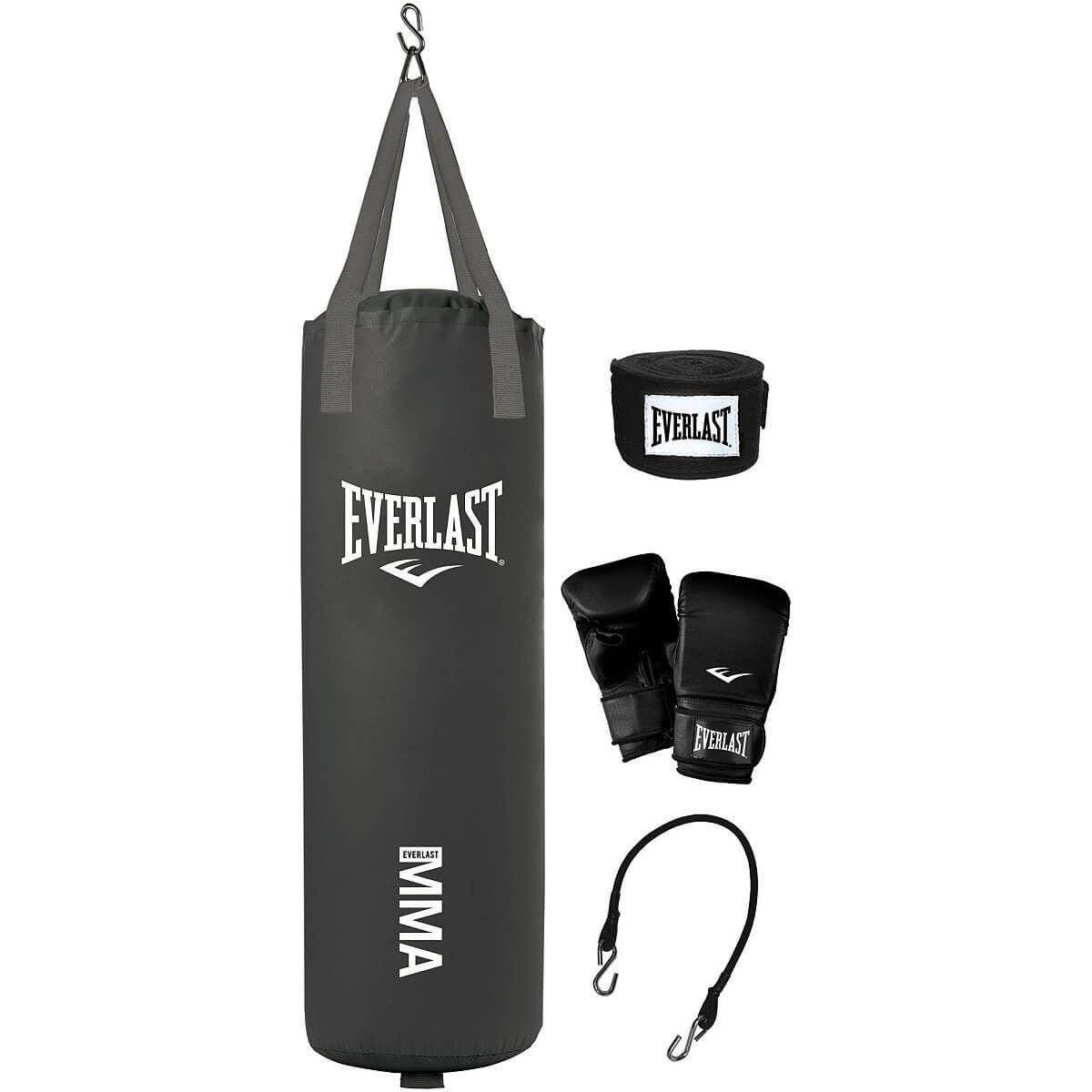 A hanging heavy punching bag