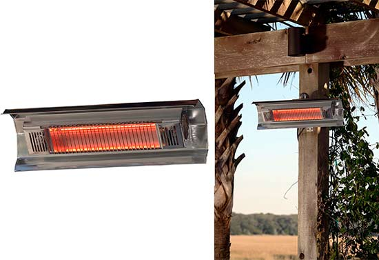 Fire Sense Indoor/Outdoor Wall Mounted Infrared Heater, Stainless Steel