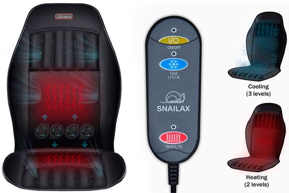 Snailax 12V Heated Car Seat Cushion With Cool Adjustable Temperature