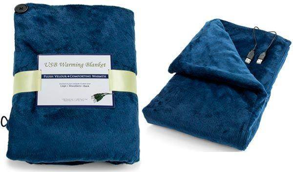 USB Heated Shawl and Lap Blanket - Blue Color