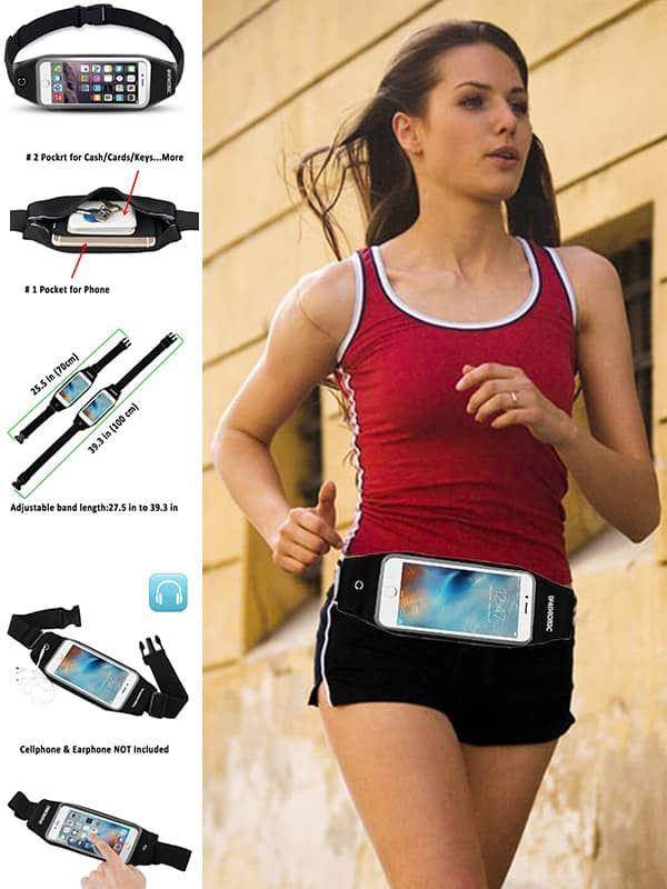 uFashion3C Running Belt Waist Pack with Zipper for iPhone