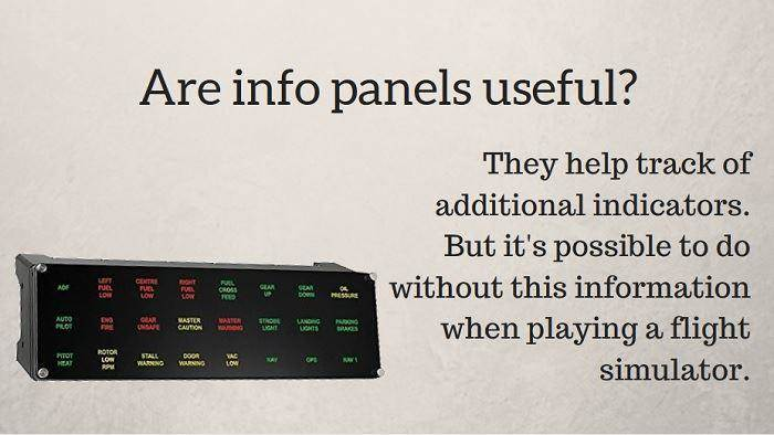 info panels for a gaming
