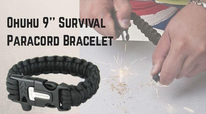 браслет для выживания Ohuhu® 9'' Survival Paracord Bracelet with Flint Fire Starter