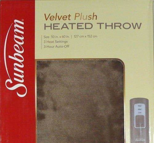 Sunbeam Velvet Soft Plush Heated Throw Blanket