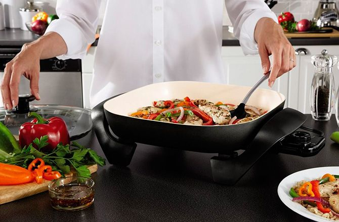 16 inch Electric Skillet With Glass Cover Lid Fry Frying Pan Kitchen Cooking NEW
