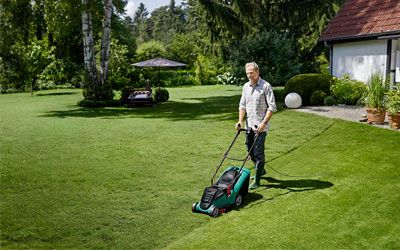 Best battery powered lawn mowers min: photo